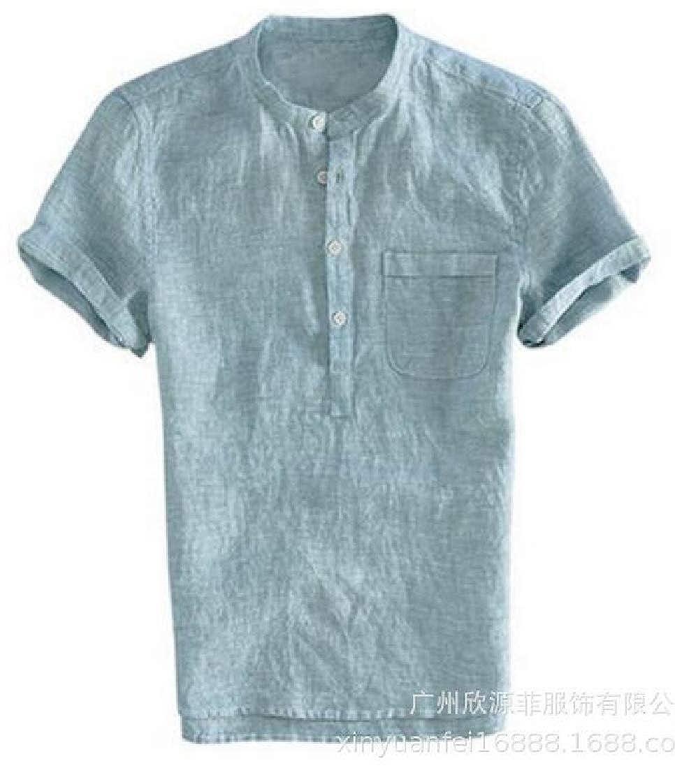 Domple Mens Stand Collar Linen Summer Chest Pocket Short Sleeve Shirts