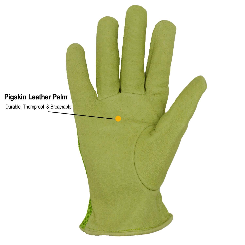 TOP Goatskin Leather Gardening Gloves Women 3D Mesh Comfort Fit Improves Dexteri