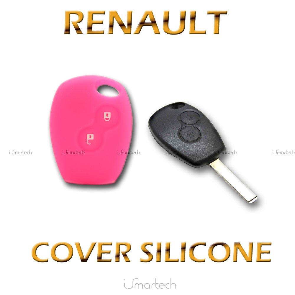 Ismartech Coque colorée en silicone souple pour boîtier de clé plip 2touches pour Renault Clio Twingo Modus Kangoo bleu