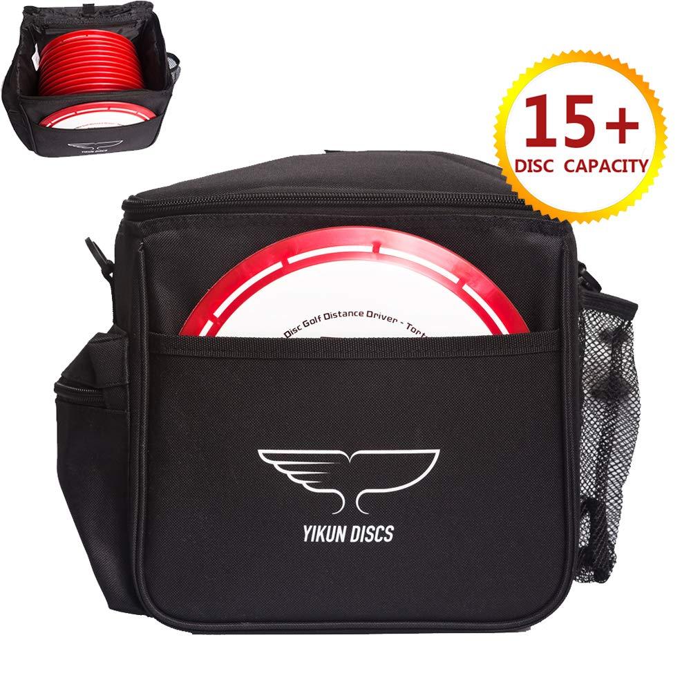 Yikun Discs ゴルフバッグ - 最大15枚のディスクを収納 - 2つのジッパー付きポケット パターポケット 調節可能なショルダーストラップ - 軽量で耐久性あり - 初心者にも経験豊富なゴルファー用ピーファー (ブラック) B07G8VTPXK  ブラック