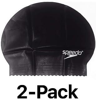 Unisex Water UV Protection Flexible Speedo Solid Latex Swimming Swim Cap Navy