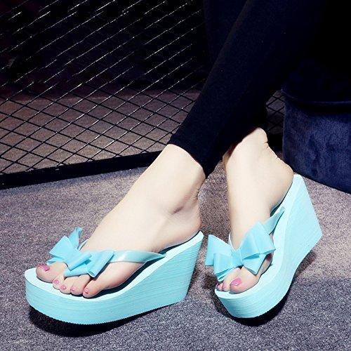 FEI Mädchen Sandalen 9cm-high Heels Weibliche Sommerspitze Mit Dicken Unteren Knochen Fashion Coole Pantoffeln Beach Schuhe (Code Klein) Rutschfest ( Farbe : Blau , größe : 36 ) Blau