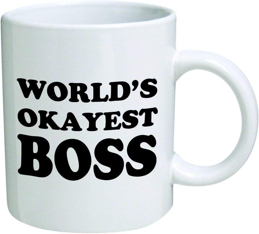 World's Okayest Boss Coffee Mug - 11 Oz Mug - Nice Motivational And Inspirational Office Gift by Go Banners