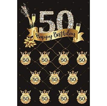 Cassisy 2x3m Vinilo Cumpleaños Telon de Fondo 50 cumpleaños ...