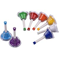 Sangmei 8 Note Diatonic Metal Bell Colorful Handbell Hand Percussion Bells Kit Musical Toy for Kids Children for Musical…