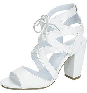 9b1c0b53fcfc TOETOS STELLA-03 Women s Evening Dress High Chunky Heel Open Toe Lace Up  Summer Wedding