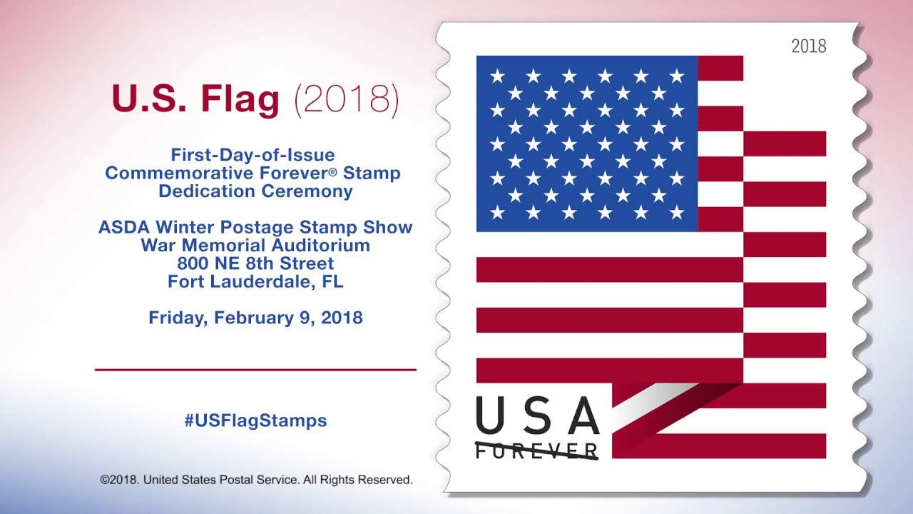 US Flag - 2018 USPS Forever First Class Postage Stamp U S  Forever