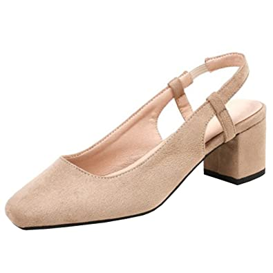 6ed45bcc982 Artfaerie Women s Mid Heels Slingback Court Shoes Pumps Slip on Summer  Sandals Work Shoes Beige