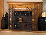 GHP Home 3-Panel Iron Mesh Splendor Fireplace Screen Embellished With Golden Ornaments