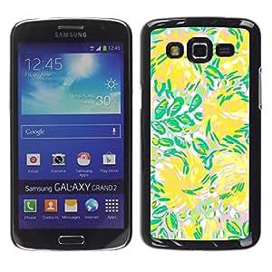 LECELL--Funda protectora / Cubierta / Piel For Samsung Galaxy Grand 2 SM-G7102 SM-G7105 -- Green Flowers Flow Summer --