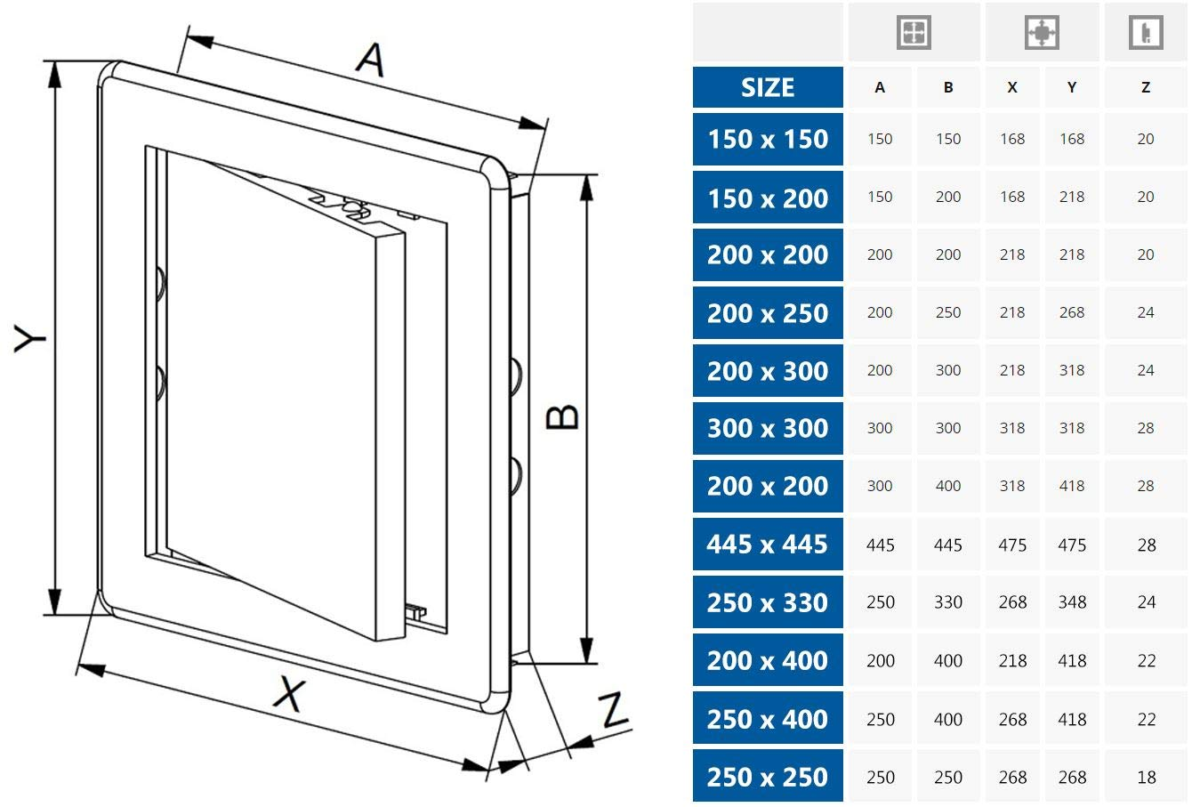 Access Panel 150x150mm (6x6inch) White ABS Plastic by Awenta