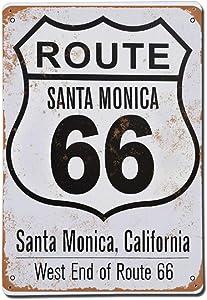 BYRON HOYLE Route Vintage Aluminum Tin Signs,Santa Monica Rustic Wall Art,Iron Wall Hanging Decor,Retro Garage Yard Home Cafe Bar Club Hotel Wall Decoration Signs