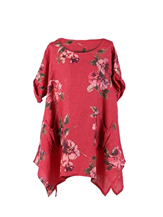3df09bb52ec LushStyleUK New Ladies Italian Floral Linen Pocket Tunic Top Women  Lagenlook Top Plus Sizes (Wine): Amazon.co.uk: Clothing