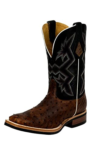 Nocona Western Boots Mens Full Quill Ostrich 11.5 EE Sienna MD5110