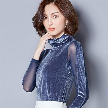 Dumai Camisa Blusas de Terciopelo de Encaje Blusa de Mujer Camisa de Moda Blusa de Manga Larga Cuello Alto Vintage Patchwork Blusas Mujer Tallas Grandes 3XL (Color : Blue, Size : XXL):