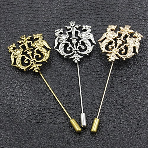 bd4a3ded3c6 Amazon.com : Long metal pin brooch accessories hairstylist nightclub suit  shirt lovers tide men brooch jewelry Korean Lions : Beauty