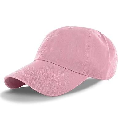 Pink_(US Seller)Cotton Plain Solid Style Baseball Ball Cap Hat