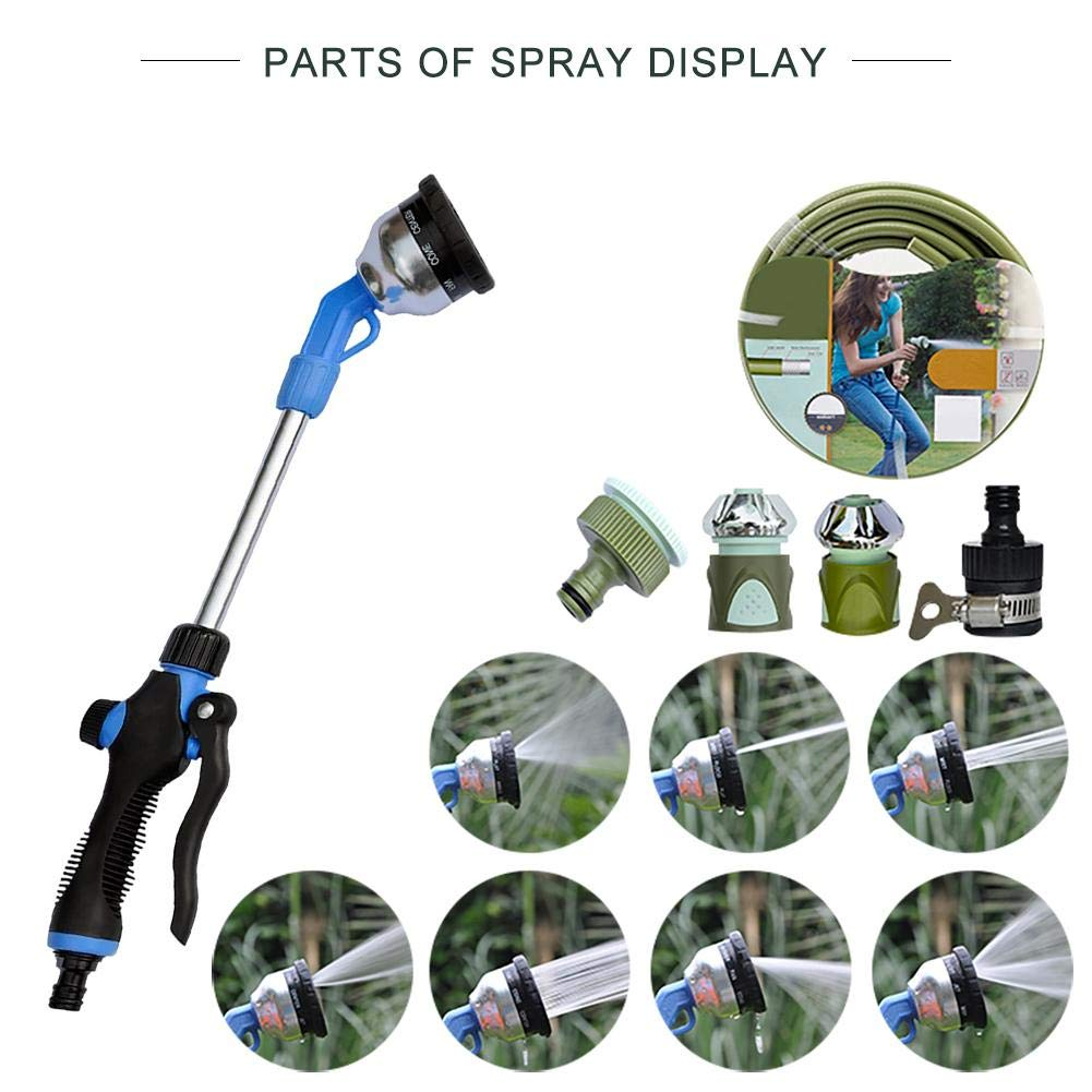 Gardener Watering Wand, Lawn and Garden Hose Nozzle Sprayer Wand Car Wash Nozzle with 7 Adjustable Spray Patterns Perfect for Hanging Baskets, Plants, Flowers, Shrubs, Garden and Lawn, Car Wash blue--net