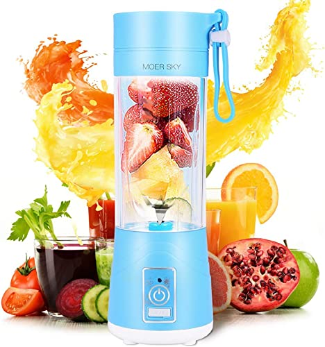 Portable Blender, Personal Smoothie Mini Mixer Juicer Cup, 380ml Fruit Mixing Machine with USB Recharging, Detachable, Office Sports Trip Blue Renewed