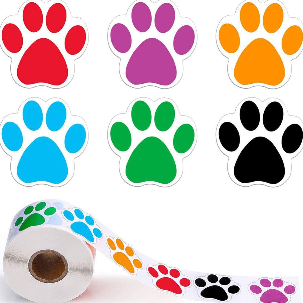 Healifty Colorful Paw Print Stickers Dog Paw Labels Stickers Bear Paw Print Sealing Stickers for Candy Bag Baking Packaging 2 Roll//1000pcs