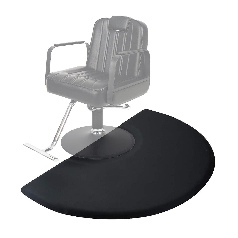 Dkeli 3' x 5' Salon & Barber Shop Chair Anti-Fatigue Floor Mat for Hair Stylist Semi Circle 1/2 Thick Black