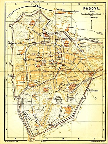 Amazon Com Padua Veneto Italy 1895 Color Lithograph City Plan Map