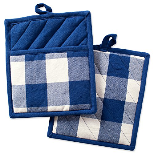 Towel Pot Holder Mitt (DII Cotton Buffalo Check Plaid Pot Holders with pocket, 9x8