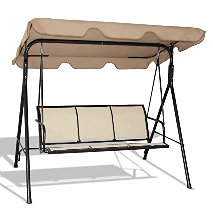 Astounding Amazon Com Lhone Outdoor Patio Swing Bench 3 Seat Heavy Machost Co Dining Chair Design Ideas Machostcouk