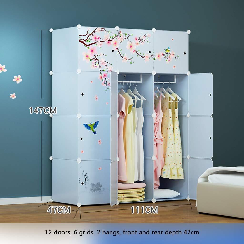 Clothes Closet Wardrobe Portable Wardrobe Closet Modular Storage Organizer Space Saving Armoire Deeper Cube with Hanging Rod 12 Doors (Size : A)