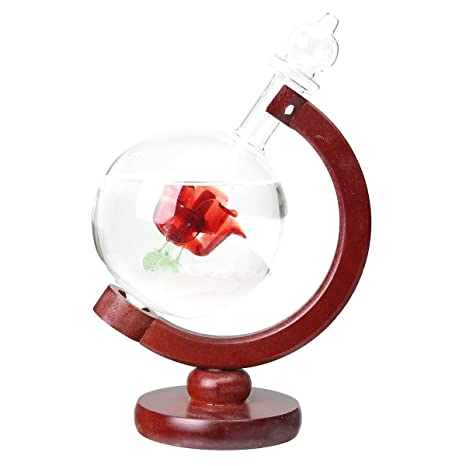 MYAMIA Pronóstico del Tiempo Rose Crystal Globe Madera Base Storm Cristal Decoraciones Caseras Regalo-Rojo