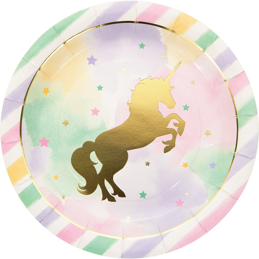 Creative Converting Unicorn Birthday Party Ultimate Bundle Serves 16 Guests: Happy Birthday Banner, Photo Props, Treat Bags, Plates & Napkins, Table Cover and Unicorn Cookie Cutter with Bonus Recipe by Creative Converting (Image #5)