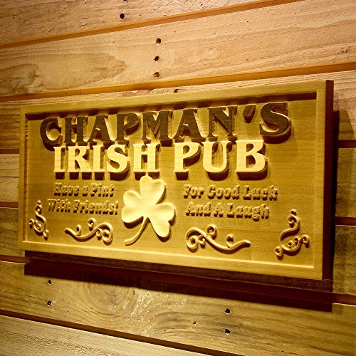ADVPRO wpa0125 Name Personalized Irish Pub Shamrock Wood Engraved Wooden Sign - Standard 23