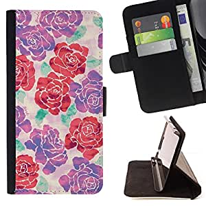 "For Samsung Galaxy E5 E500,S-type Modelo púrpura primavera floral rojo"" - Dibujo PU billetera de cuero Funda Case Caso de la piel de la bolsa protectora"