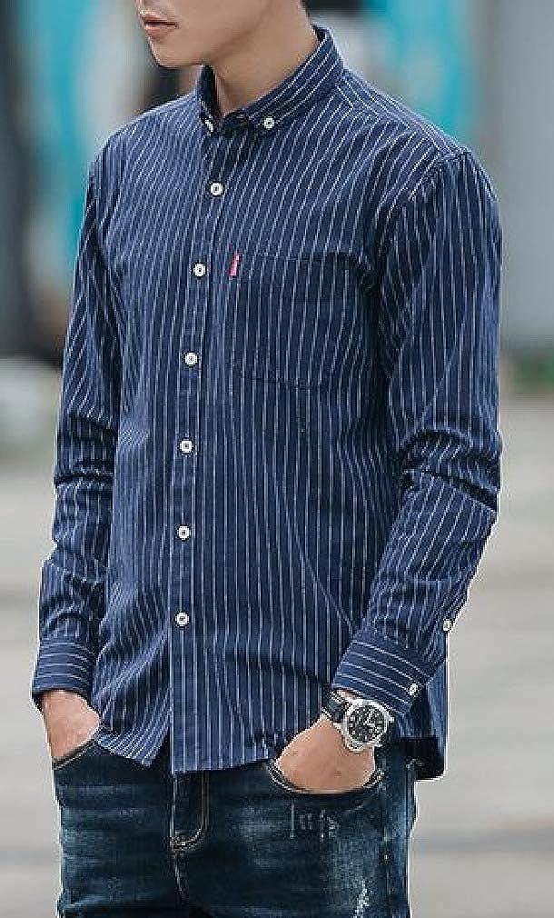 DressU Mens Autumn Striped Long-Sleeve Japanese Square Collor Shirts