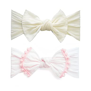 7679919d4358 Baby Bling Bow 2 Pack  Trimmed and Classic Knot Girls Baby Headbands - MADE  IN