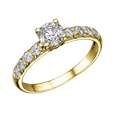 1 ct Round Diamond Solitaire Engagement Ring in 18k Yellow Gold