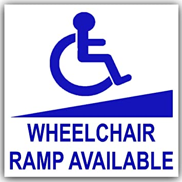 1 x rampa para silla de ruedas disponible – Pegatina de coche azul sobre blanco-