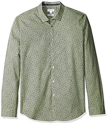 Calvin Klein Men's Slim Fit Cross Hatch Print Long Sleeve Button Down Shirt