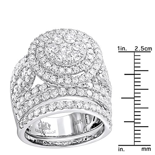 14k Gold Unique Diamond Double Halo Engagement Ring and Wedding Band Set 4.25ctw (White Gold, Size 7) by Luxurman (Image #2)