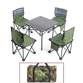 QIANGDA Mesa Plegable Acampada con 5 Sillas Multifuncional ...
