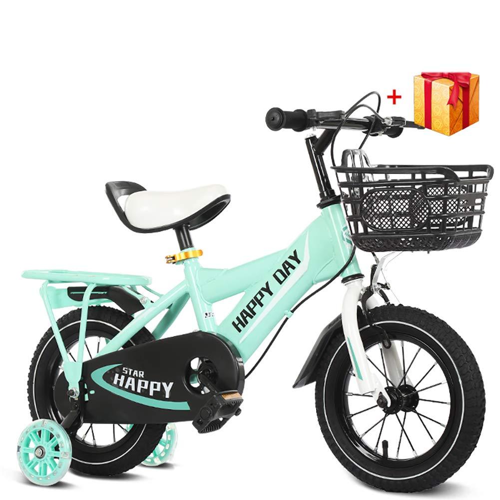 BAICHEN Biciclette per Bambini,Bicicletta per Bambini 14 12 16 18 Pollici con stabilizzatori,Adatto a Bambini di 2-9 Anni,verde,14inches