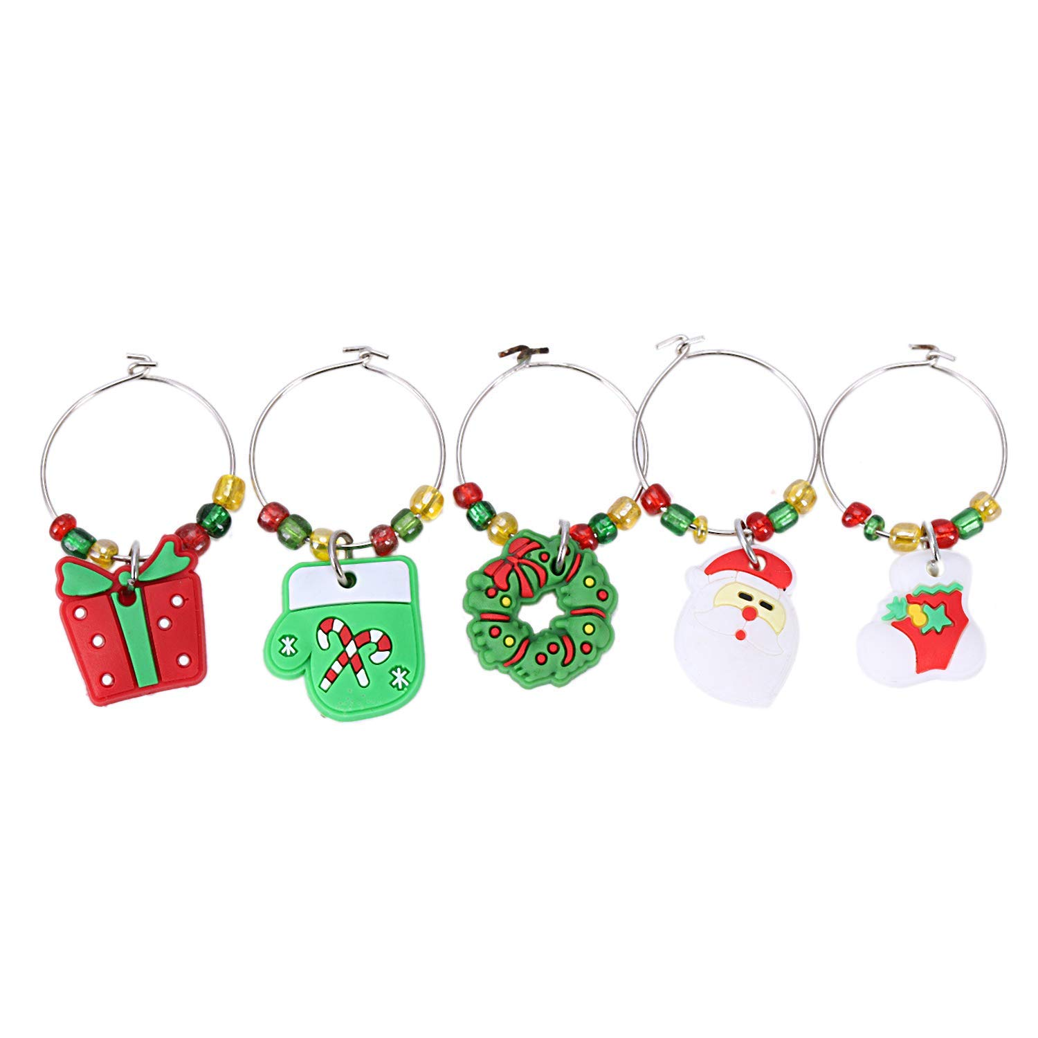 Yevison 6PCS PVC Merry Christmas Wine Glass Charms Rings Marker Christmas Party Bar Table Decorations Durable and Useful by Yevison