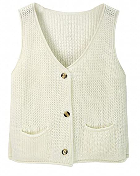 Jaycargogo Womens V-neck Button Up Sleeveless Knit Vest Sweater ...