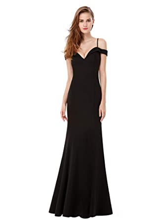 0eb46bf72a2 Ever Pretty Women s Sexy V Neck Off The Shoulder Floor Length Party Dresses  Black 8UK
