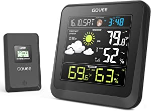 Govee Wireless Weather Station with Color LCD Displasy, Weather Forecast Station with Outdoor Sensor, Digital Temperature and Humidity Gauge with Alarm Clock, Moon Phase, Backlight, Sooze Mode