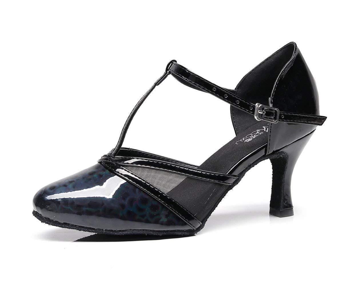 Yingsssq Frauen Pailletten Leder Leder Leder Spitze Zehenkätzchen Ferse Latin Ballroom Dance Schuhe SilberHeeled7.5cm-UK4   EU35   Our36 (Farbe   schwarzheeled7.5cm Größe   UK4 EU35 Our36) e8fd0c
