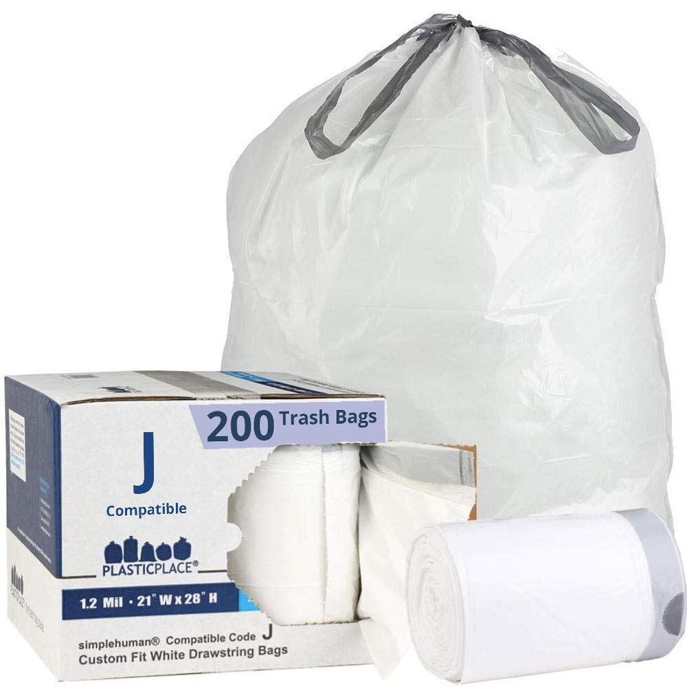 Plasticplace Custom Fit Trash Bags │ Simplehuman Code J Compatible (200 Count) │ White Drawstring Garbage Liners 10-10.5 Gallon / 38-40 Liter │ 21'' x 28'' by Plasticplace