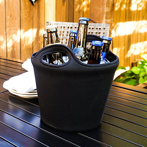 BREKX Sweat-Proof Galvanized Metal 5QT Ice Bucket w/ Insulated Neoprene (5 Quart Galvanized Metal Bucket)