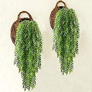 HO2NLE 2pcs Fake Hanging Plants Artificial Willow Leaves Faux Foliage Plastic Greenery Garland Wall Porch Patio Arch Balcony Basket Garden Party Wedding Decorations 2
