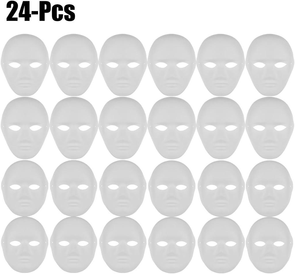 Outgeek DIY Mask, White Mask Paintable Paper Mask White Plain Mask for Mardi Gras (12 Male+12 Female